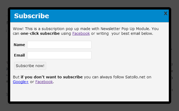 popup newsletter extension plugin